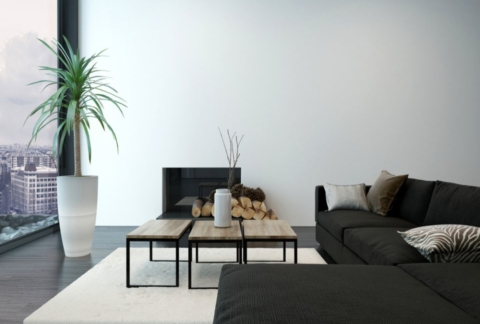 The beauty of minimalism shown in a lounge space.
