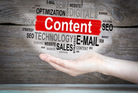 The words Optimizing Content hovering over a female's hand.