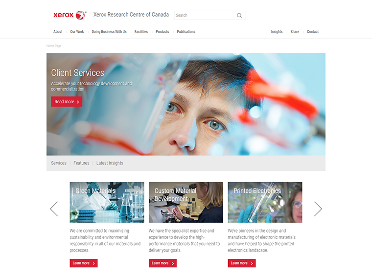 Home page layout of Xerox website design.