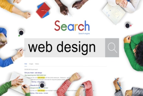 People using a search engine to find best web design.
