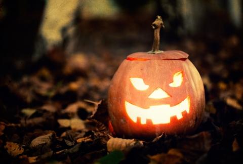 Scary pumpkin portraying bad web design