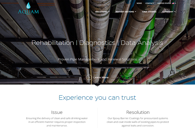 Assortment of pipes on the Aquam web design home page.