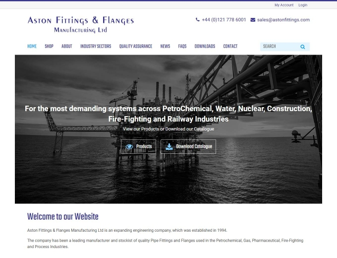 Oil rig featuring on Aston Fittings website home page