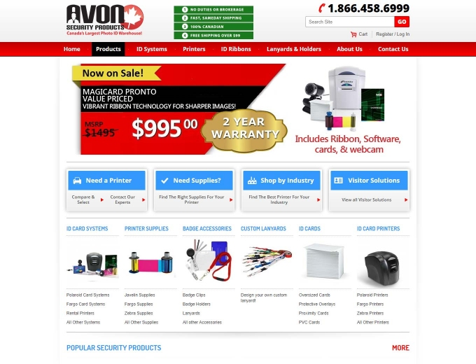 Screenshot of the Avon Security Products ecommerce web design