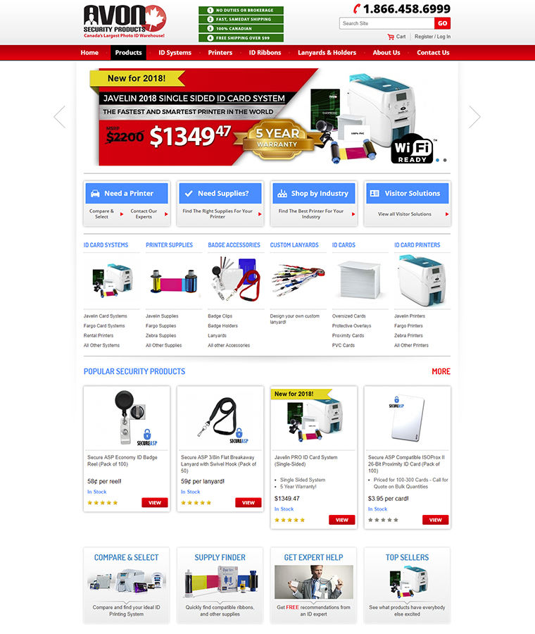Home page of Avon security website showing selection of products.
