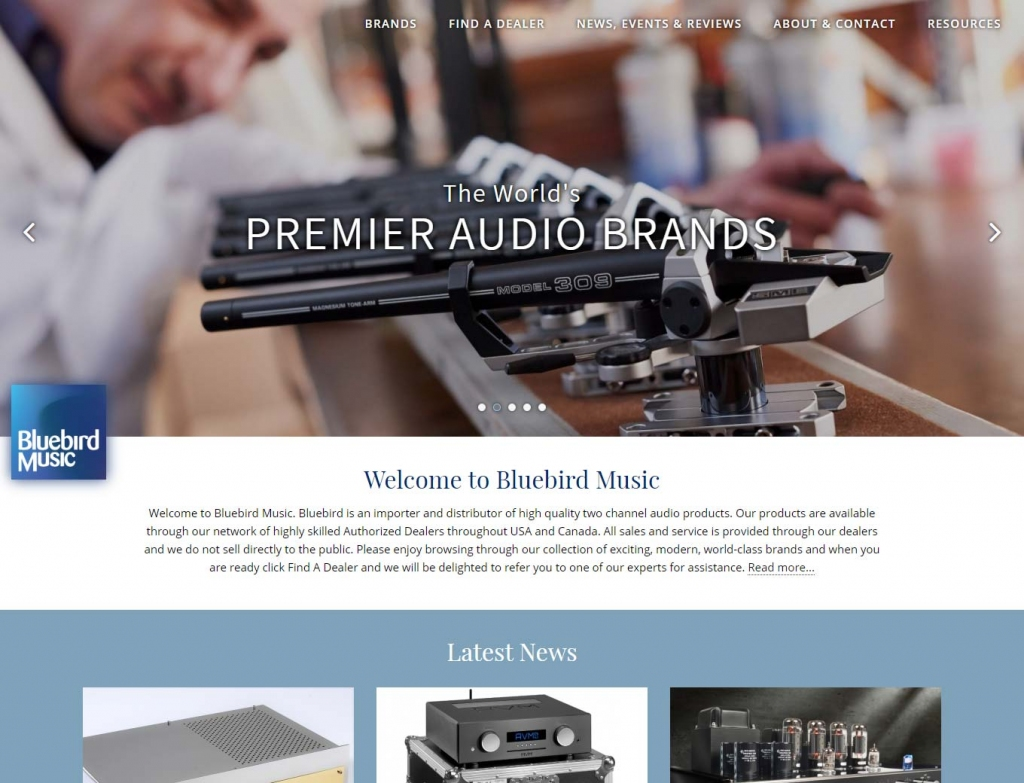 High quality audio equipment on Bluebird website