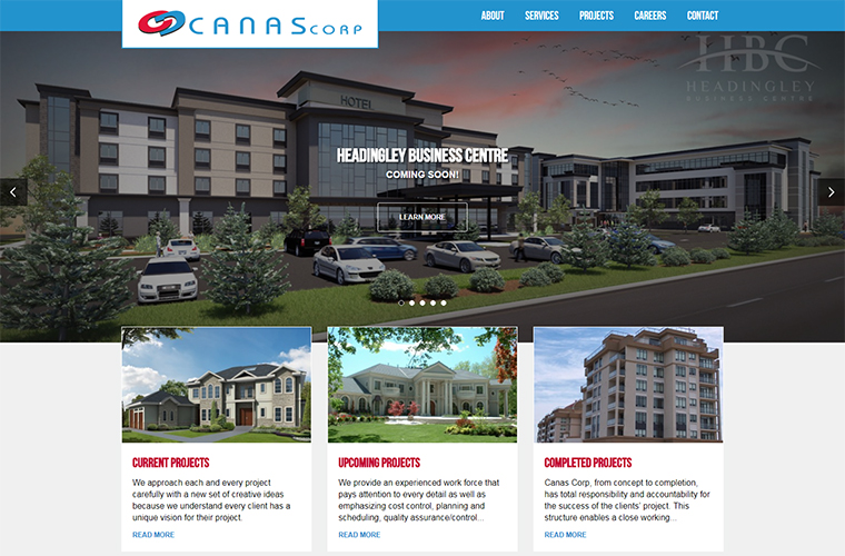 Canas Corp Construction website design