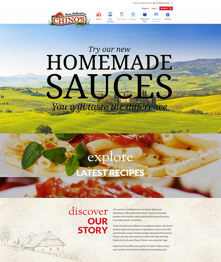 Chino's Cuisine Sauces website design