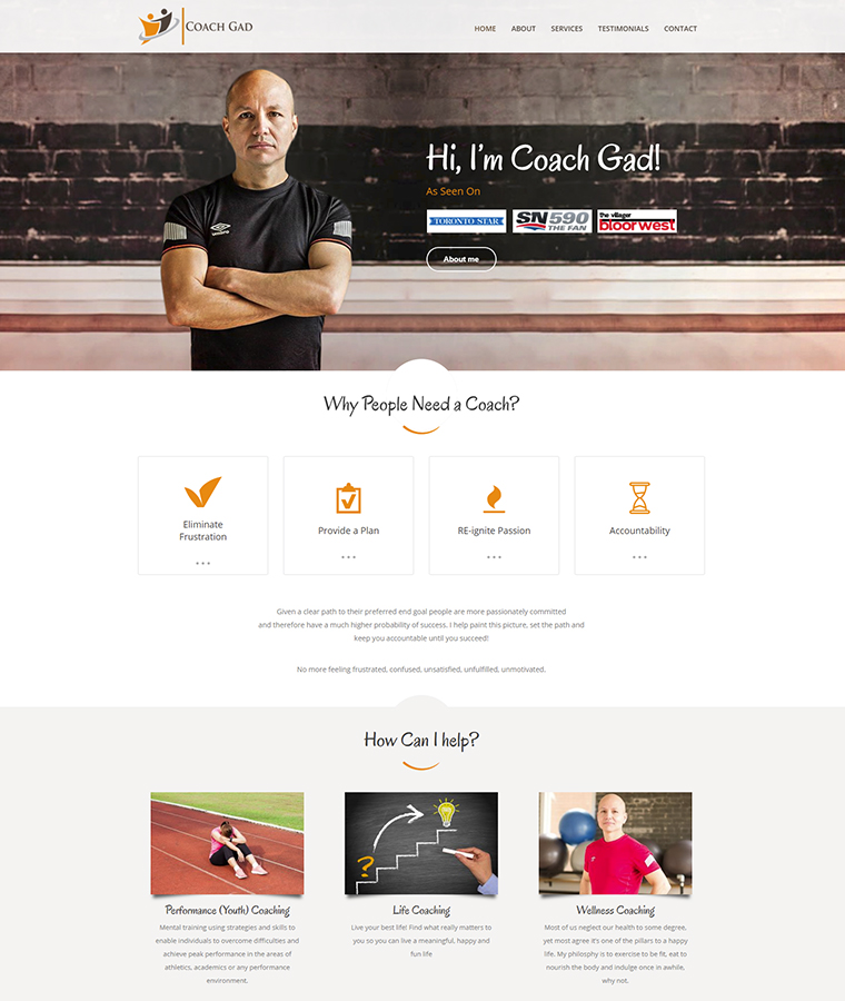 Coach Gad featuring on the home page of his new web design