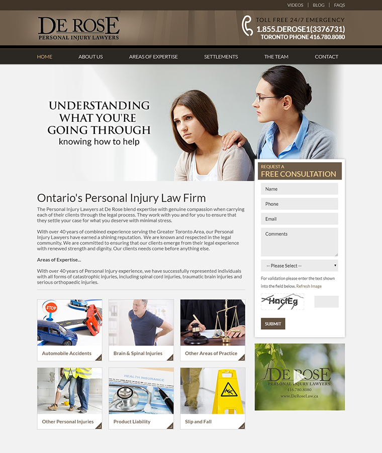 De Rose Personal Injury Lawyers web design