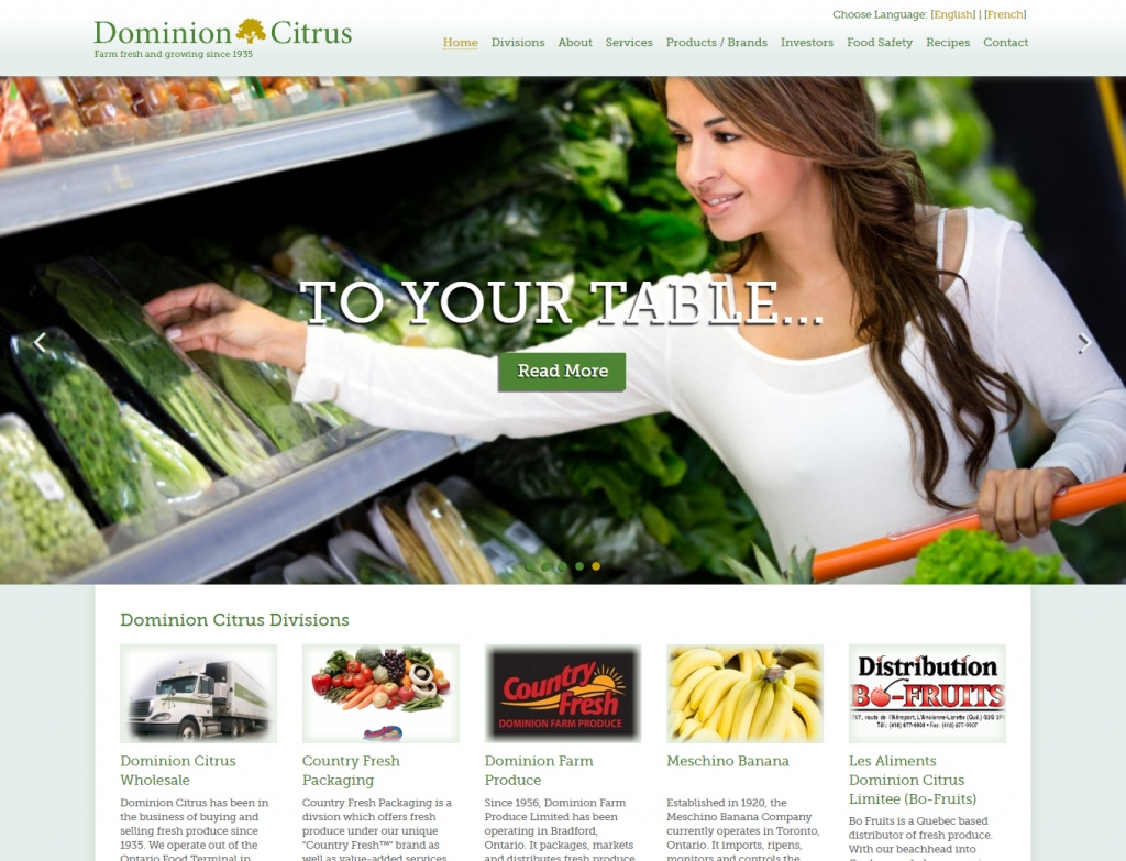 Shopping for fresh vegetables on the Dominion Citrus home page