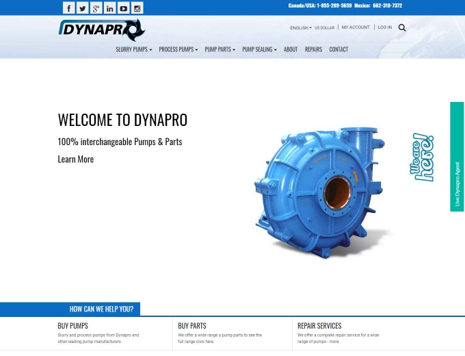 Slurry pump featured on Dynapro website's landing page