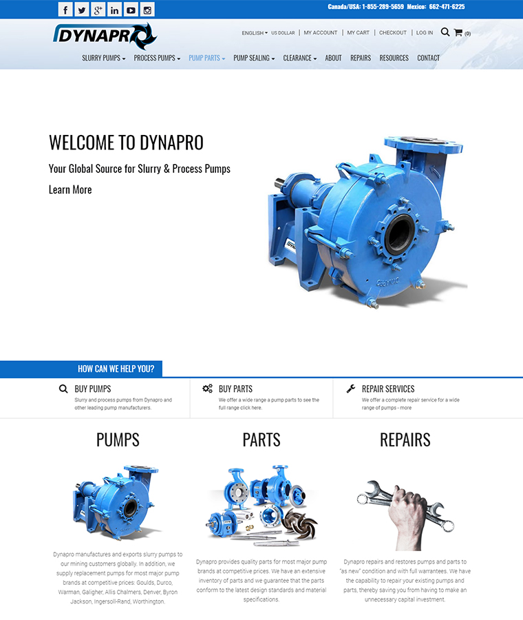 DynaPro Equipment Website Design