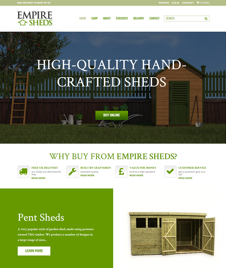 Empire Sheds E-commerce website design