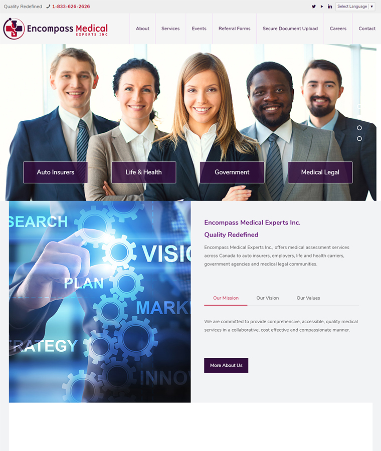 Encompass Medical Experts website design