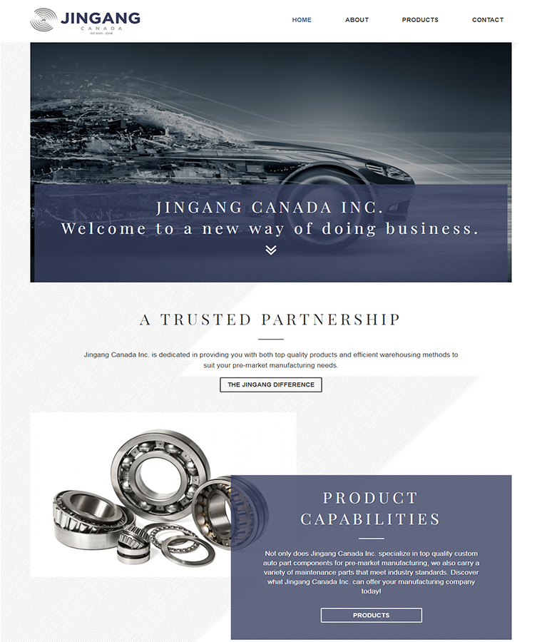 A closer look at the Jingang web design home page.
