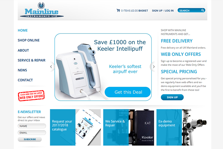 Home page design of Mainline website.