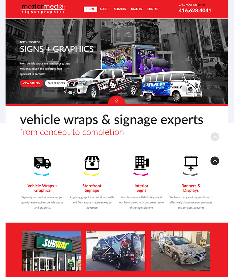 The landing page of the Motion Media website design