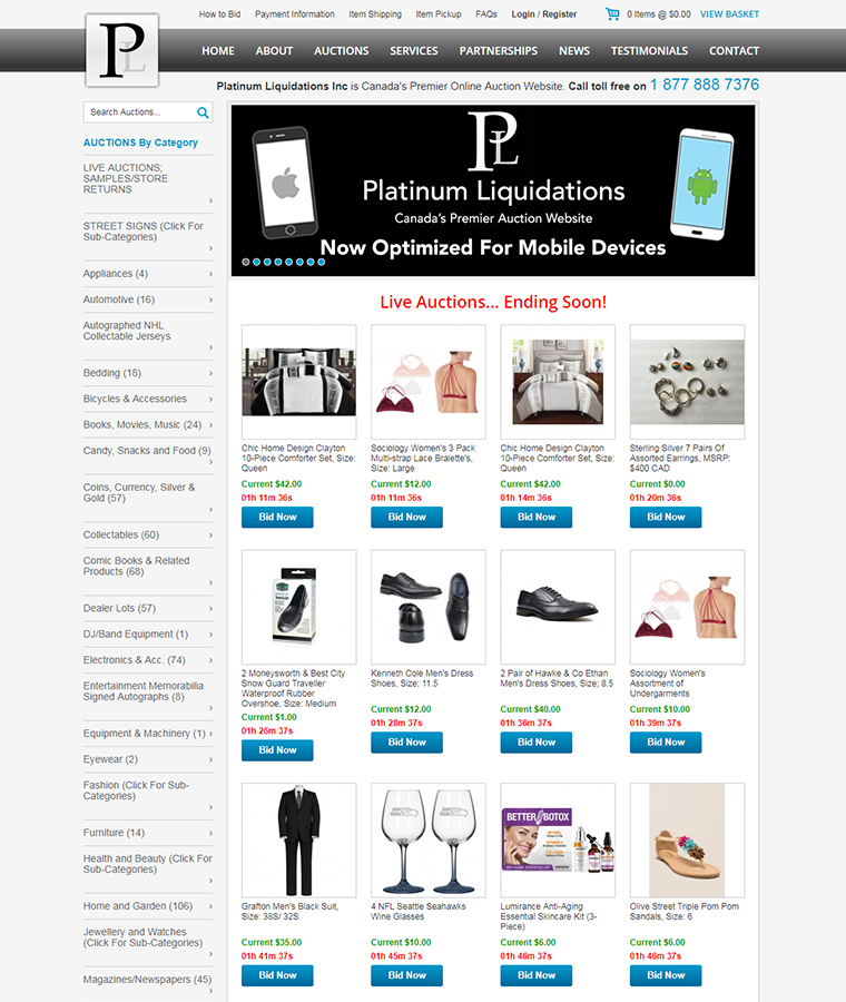 The Platinum Liquidations Online Auction Web Design
