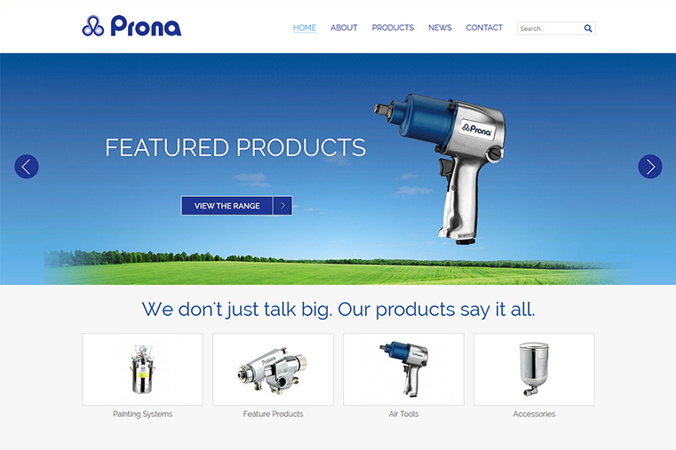 The home page of Prona Tools web design