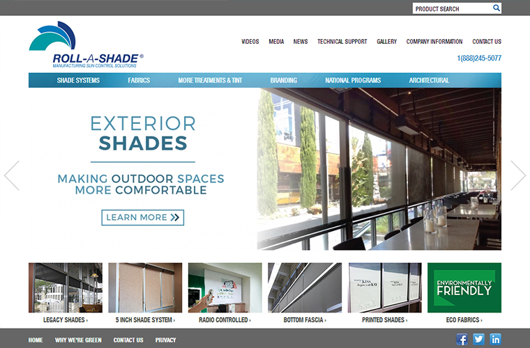 Roll A Shade web design home page