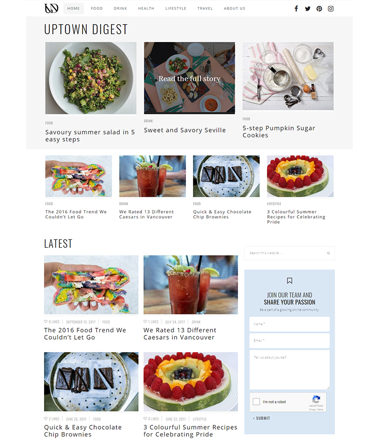 Scrumptious recipes on the Uptown Digest website.