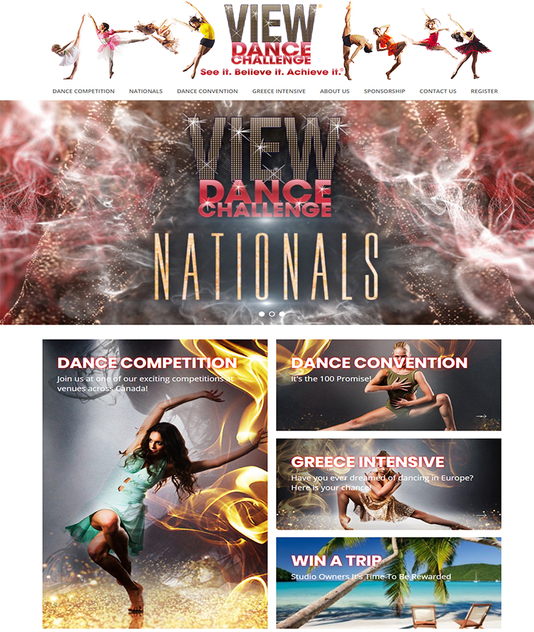 The exciting website design of VIEW Dance Challenge.