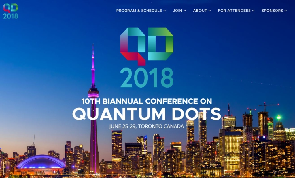 Home page of the QD2018 website.