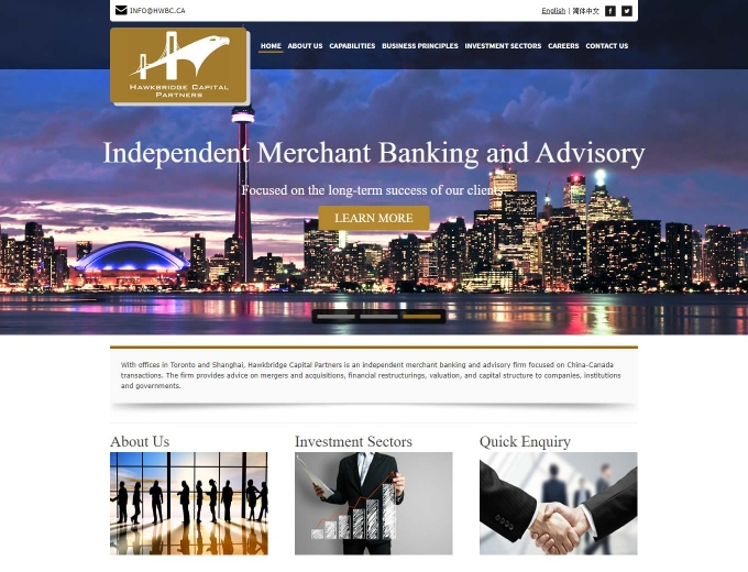 Toronto skyline features on this financial web design home page