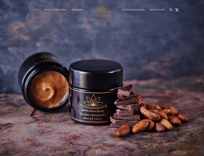 Luxury skincare products feature on this ecommmerce web design home page
