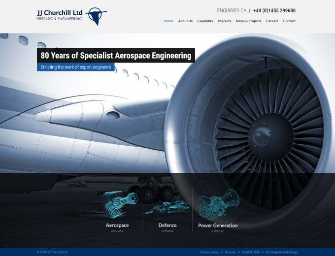 Aircraft engine up close on this engineering company web design