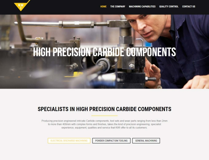 Precision engineering web design showing engineer at work