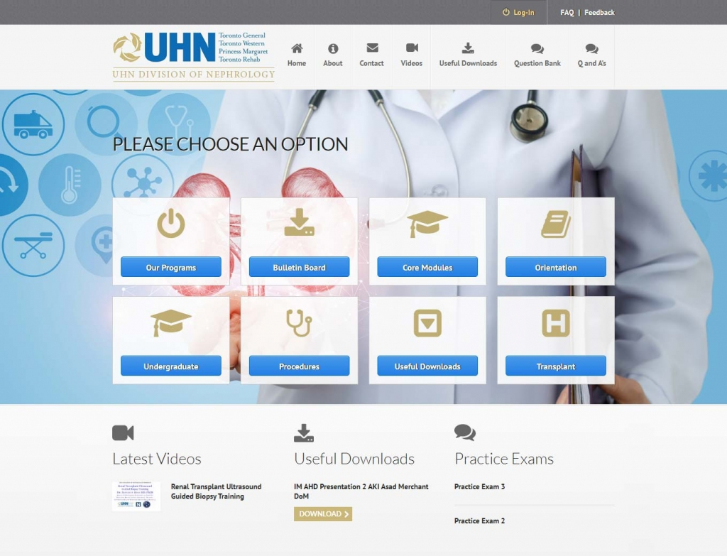 Elearning portal of the UHN Nephroed website