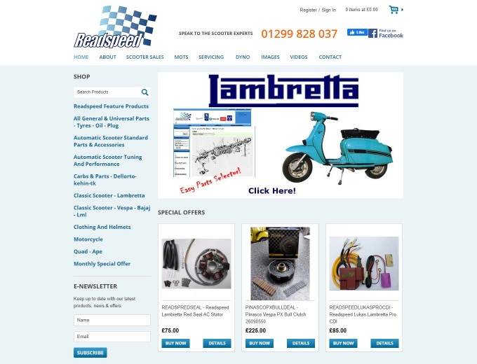 Scooters and accessories on the Readspeed ecommerce website
