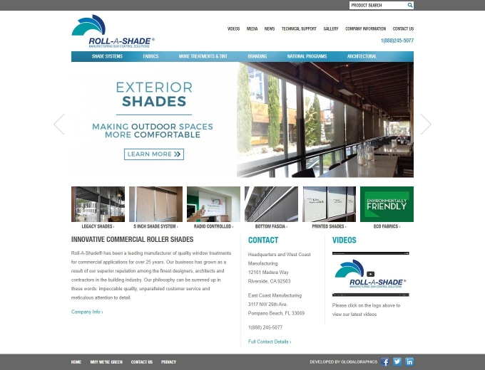 The Roll-A-Shade blinds and shades web design home page