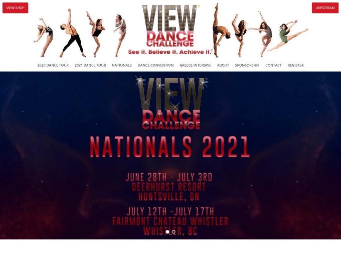 VIEW Dance Challenge web design landing page