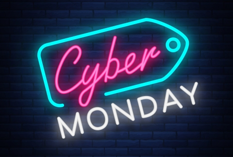 Neon sign displaying Cyber Monday