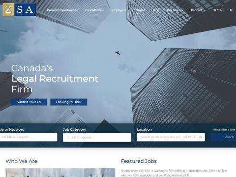 The ZSA custom designed website home page