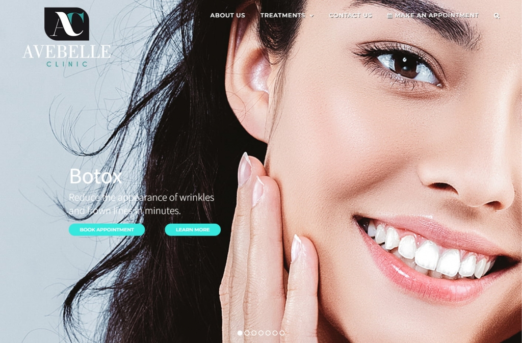 Up close with the Avebell Clinic website design home page.