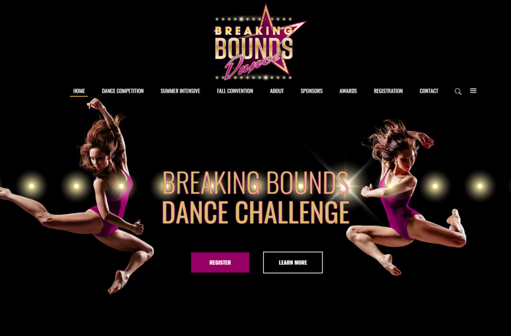 Two dancers jump high on the Breaking Bounds home page.