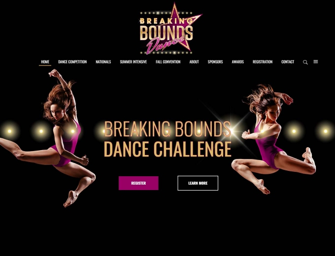 Dancers leaping againts a black drop on website's home page.
