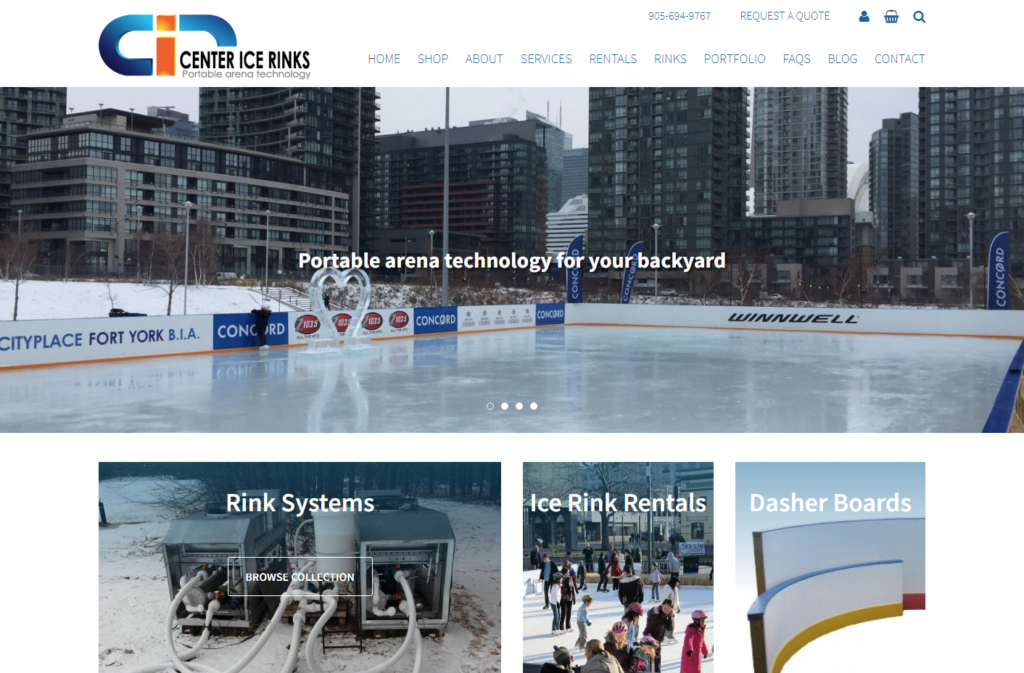 Large outside rink showing in website home page