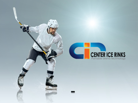 Ice hockey player and Center Ice logo.