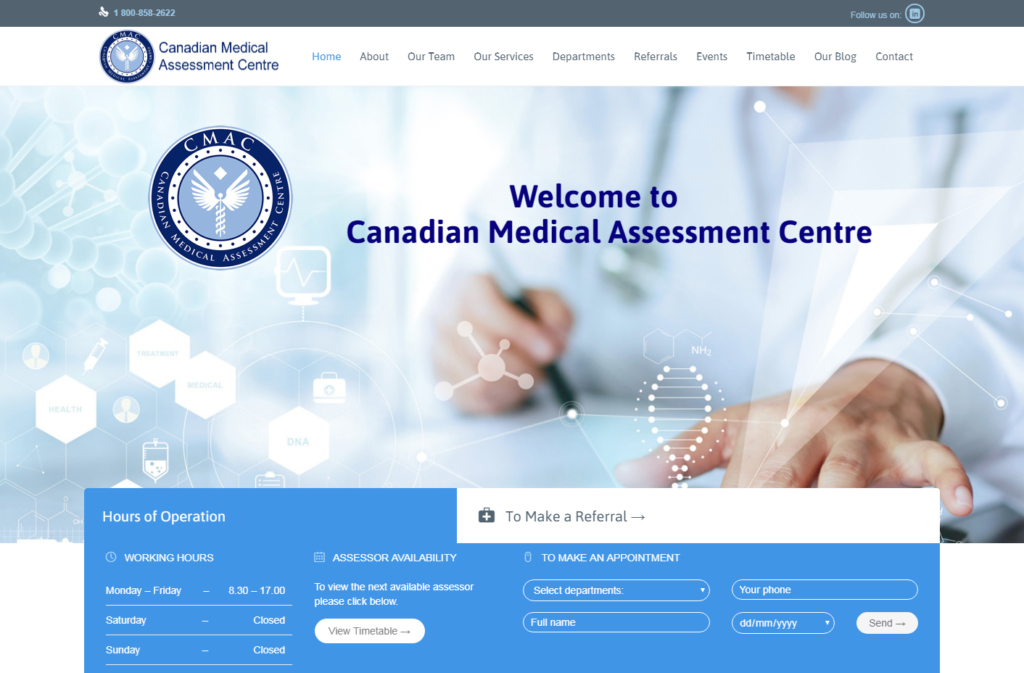 The CMAC medical assessment website design.