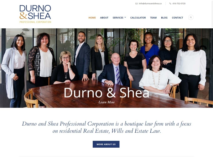 The Durno and Shea team on main web design home page banner