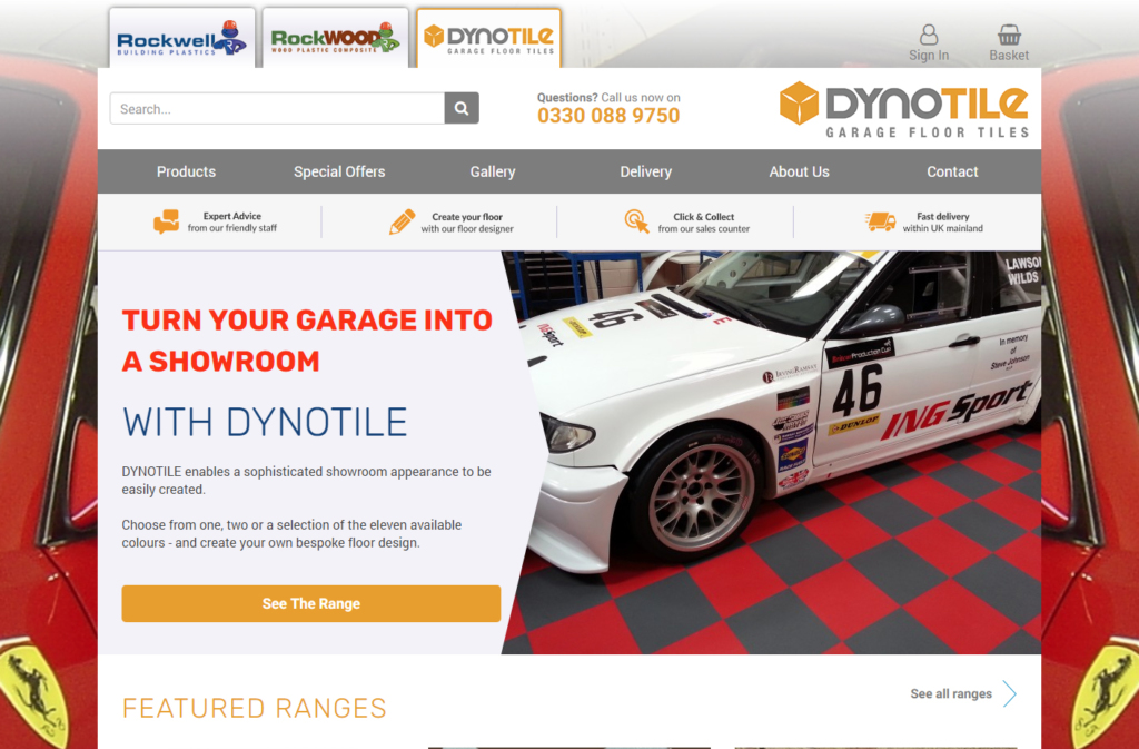 Great garage floor tiling shown on the Dynotile website.