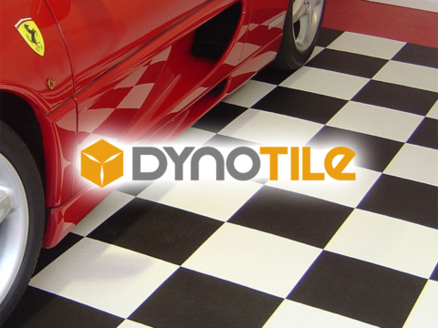 The Dynotile logo against black and white tiles.