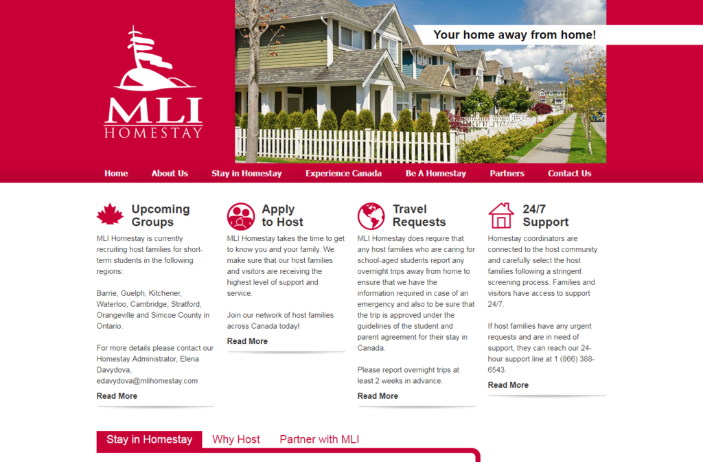 Home page of MLI Homestay website design.