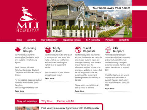 Close up look at the landing page of MLI Homestay