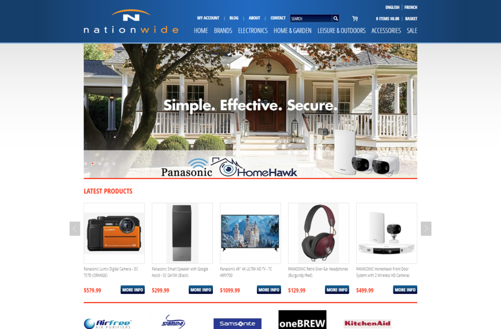 Home page of the Nationwide ecommerce website